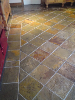 Slate tile cleaning after